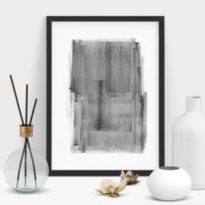 Abstract Painting In Black And White Print