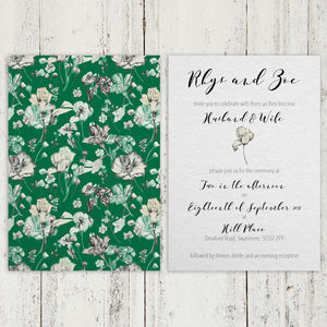 Botanical Green Day Or Evening Wedding Invitation