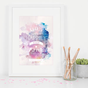 Personalised Wedding 'Happily Ever After' Art Print - posters & prints