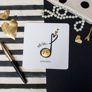 'Love Note' Valentines Music Note Card