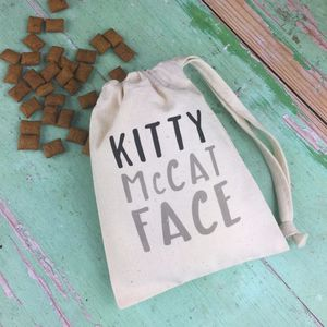 Personalised Kitty Mc Cat Face Bag With Treats