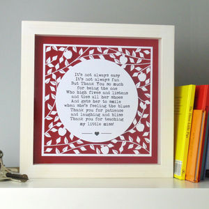 Thank You Teacher Personalised Papercut