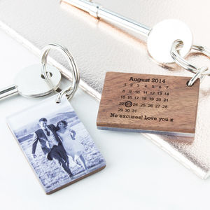 Personalised Photo Wood And Acrylic Calendar Keyring - womens