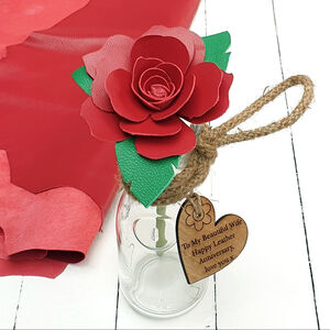 Large Leather Rose In Glass Vase 3rd Anniversary