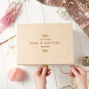 Personalised Nature Wedding Keepsake Box - 5th anniversary: wood