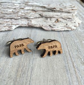 Fathers Day, Wooden Papa Bear Cufflinks - cufflinks