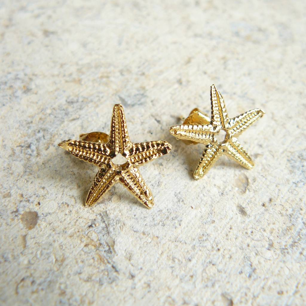 Gold Starfish Stud Earrings