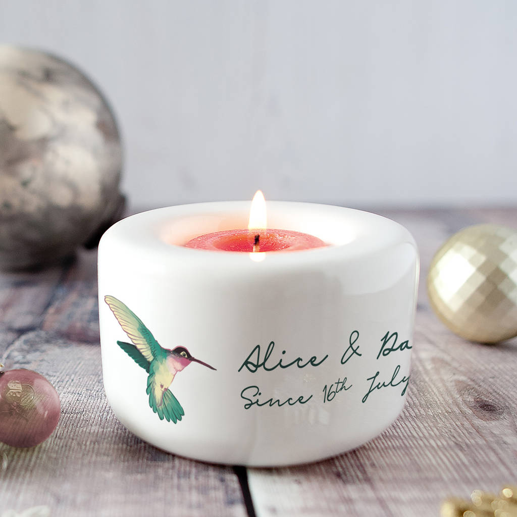 Personalised Vintage Hummingbirds Couples Candle Holder