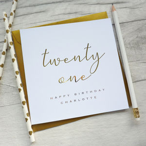 21st Birthday Personalised Foil Card
