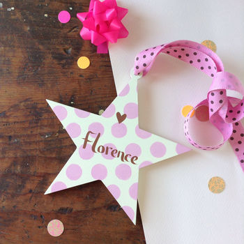 girls name star sign with pink spots and pink grosgrain ribbon with chocolate spots