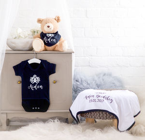 Personalised 100% Cotton Black Gift Set - baby care