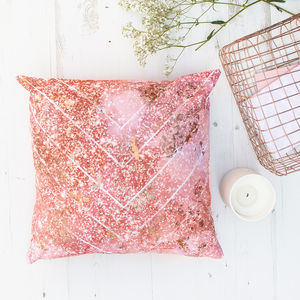 Rose Gold Foil Chevron Pattern Cushion - cushions
