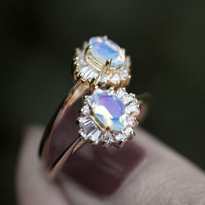 White Opal Art Deco Cluster Ring In Silver Or Gold