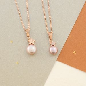 Mama Et Moi Pink Pearl Pendants With Star