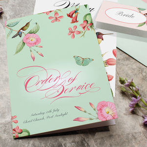 Hummingbird Tropical Wedding Day Stationery - order of service & programs
