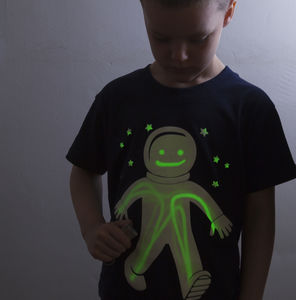 Spaceman Glow In The Dark Interactive Kids T Shirt