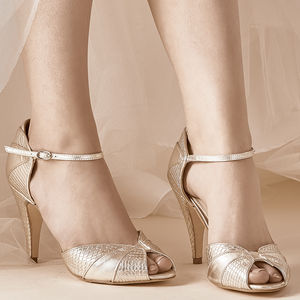 Gigi Gold Leather Snake Print Shoes