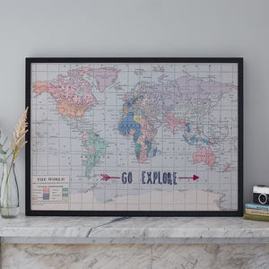 'Go Explore' Embroidered Fabric Map Noticeboard