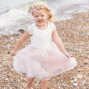 Lace And Tulle Flower Girl Dress With Sash 35 Colours
