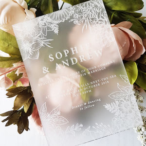 Floral Perspex Wedding Invitation - invitations
