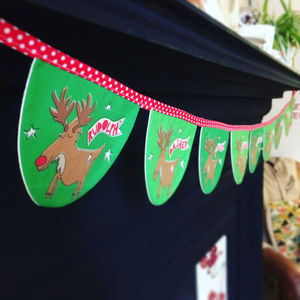 Rudolph And Reindeers Bunting For Christmas - children's room