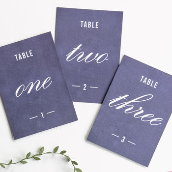 Traditional Style Table Numbers Or Names / Navy Blue