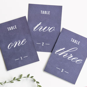 Traditional Style Table Numbers Or Names / Navy Blue - table numbers