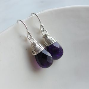 Amethyst Wire Wrapped Silver Earrings