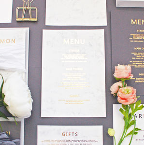 Marble And Gold Wedding Breakfast Menu - wedding stationery