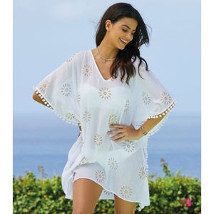 White Kiki Sun Cotton Beach Kaftan - kaftans & cover-ups