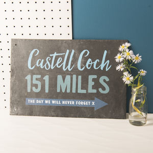 Personalised Special Distance Location Slate Sign - door plaques & signs