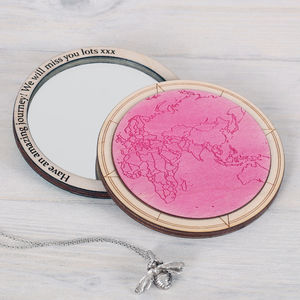 Personalised World Map Outline Compact Pocket Mirror