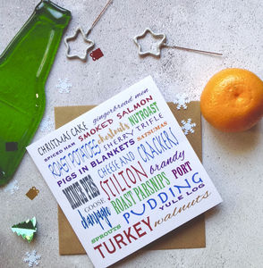 Christmas Food 'Eat, Drink And Be Merry' Card - christmas card packs