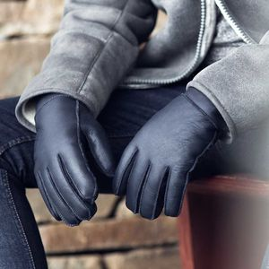 Mens Navy Sheepskin Gloves
