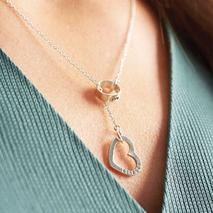Personalised Heart Lariat Necklace - gifts for her