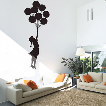 Banksy Floating Balloon Girl Wall Stickers