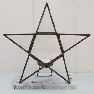 Brass Star Tea Light Holder - christmas lighting