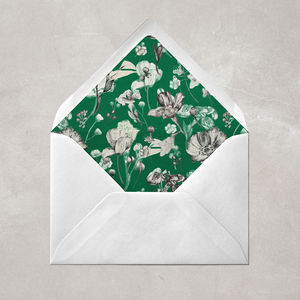 Botanical Green Floral Envelope Liner