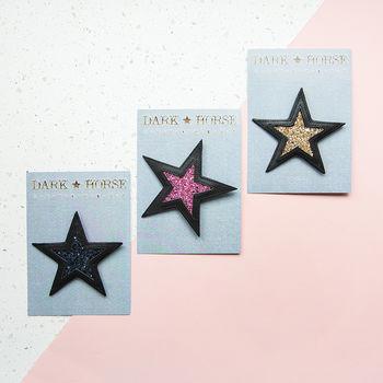 Star Leather And Glitter Brooch
