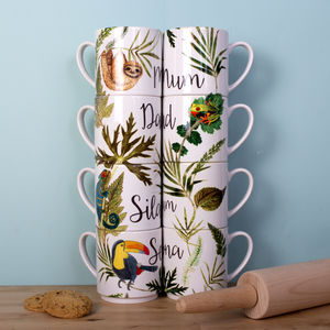 Animal Print Tropical Family Stacking Mugs Gift Set - winter sale