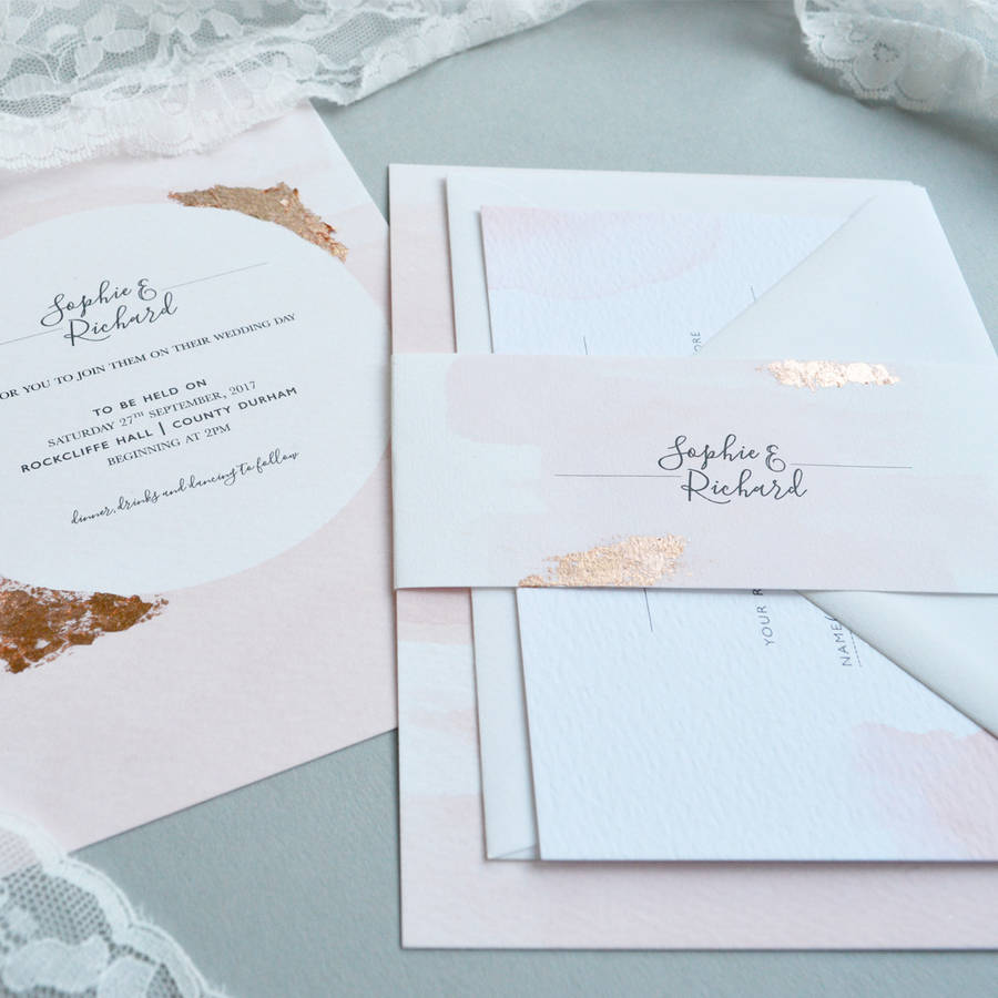 blush watercolour wedding invitation - Blush Wedding Invitations