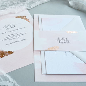 Blush Watercolour Wedding Invitation - invitations