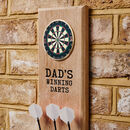Personalised Oak Dart Holder With Brass Dart Board