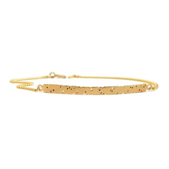 Patterned Yellow Gold Bar Bracelet