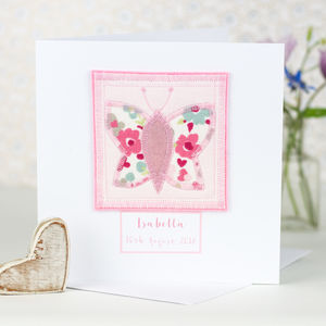 Personalised New Baby Girl Butterfly Card