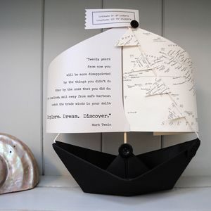 'Explore Dream Discover' Literary Boat Card Keepsake
