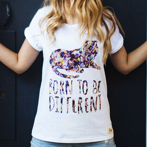 'Born To Be Different' Women's Slogan T Shirt - tops & t-shirts