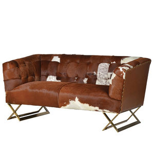 Natural Cow Hide Two Seater Buttoned Back Sofa - furniture