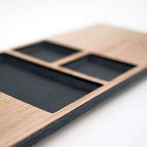 Solid Oak Sushi Serving Board With Scorched Details - tableware