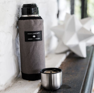 Grey And Black Leather Vacuum Flask